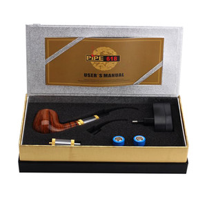 E 파이프 618 흡연 파이프 E 담배 2.5 ml Atomizer 18350 배터리와 담배 초보 키트 솔리드 우드 디자인 건조 허브 기화기 vape 모드를 모방