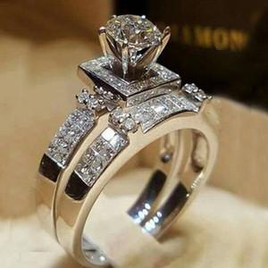 Размер 5 6 7 8 9 10 11 Алмазный Rhinestone Обручальное кольцо Подарочный набор для любви Girlfriend Lovers Пара кольцо