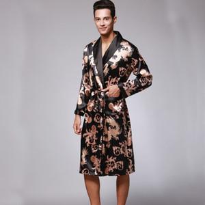 SSH0127 весна осень Мужские халаты Дракон печатных мужской пижамы полные рукава пижамы пижамы пижамы атласные шелковые кимоно халат пижамы
