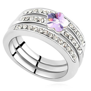 Austrian Crystal from Swarovski Elements Rings Set For Women Jewelry High Quality Wedding and Engagement Flower 16659