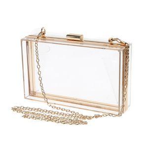 THINKTHENDO New Women's Handbag Transparent Clutch Bag Luxury Evening Acrylic Handbag Chain Strap Messenger Bag