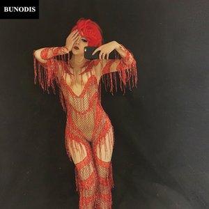 BU088 Red Tassel Sparkling Combat Femmes Bling Sexy Costume Discothèque Party Anniversaire Performance Stage Porter Danseur Vêtements