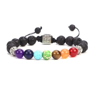 Colorful  Bracelets Natural Stone 7 Chakras Yoga Personality Fashion Weaving Elastic Couple Bracelet