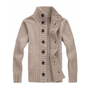 Gresanhevic New Mens Button Up Point Stand Collar Knitted Slim Fit Cardigan Sweater