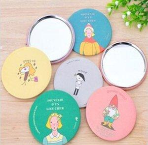 새로운 판매 소형 거울 소녀 미니 포켓 메이크업 거울 화장품 작은 귀여운 만화 포켓 손 원형 메이크업 거울