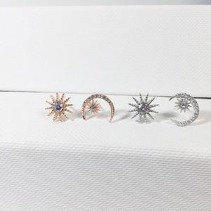 Kreative Asymmetrie Frauen Stud Pentagramm Mond S925 Ohrring für Dame Fashion Designer Elegante Weibliche Ohrringe Schmuck
