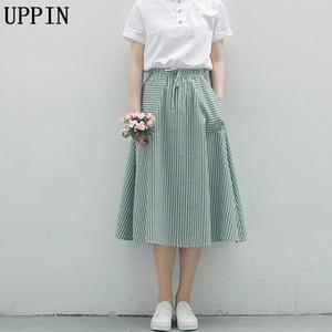 UPPIN 2018 Nueva Primavera Verano Mujer Faldas de la raya Ocasional Suelta Algodón Lino Faldas femeninas Vintage EleGirl Midi Mujer