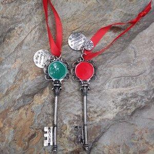 Antique Silver Personalizado Esmalte Chaves de Disco Chave de Jóias Em Forma de Enfeite De Natal Santa's Magic Key