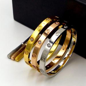 Novo estilo prata rosa 18k ouro 316L pulseira de aço inoxidável parafuso com chave de fenda e parafusos caixa original nunca perde