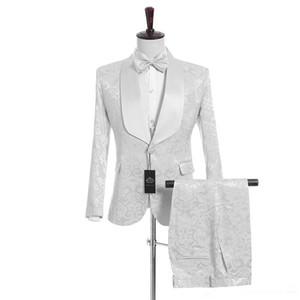 Customize White Shawl Lapel One Button Wedding Groom Tuxedos Men Suits Wedding Prom Dinner Best Man Blazer(Jacket+Tie+Vest+Pants) N57