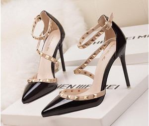 Fetiş kırmızı siyah dipleri yüksek topuklu kadın ayakkabı düğün ayakkabı Perçin mary jane pompaları escarpins femme bayanlar lolita gladyatör sandalet ...