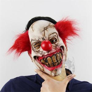 Máscara de Halloween Scary Clown Latex Full Face Mask Big Mouth Red Nariz de pelo Cosplay Horror mascarada máscara Ghost Party disfraces