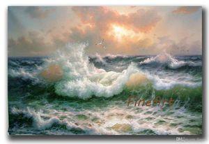 main mur art art océan vague toile art paysage marin peinture à l'huile tenture décoration maison cadeau unique