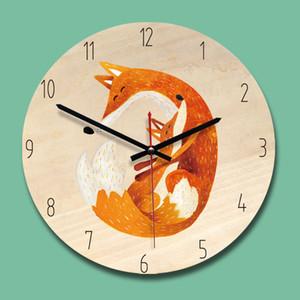 Round Silent Modern Handing Clock Children  Cartoon Creative Living Room Home Decor Silent Wooden Wall Clocks