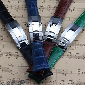 Новый 20MM Черный Зеленый Коричневый Синий натуральная кожа ремешок ремешок для роли Gmt часы с логотипом Оригинальное