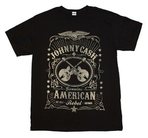 Cool Summer Tees Johnny Cash Cross Guitars American Rebel Label Country Rock Hombres camiseta negra