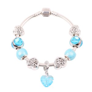 AIFEILI European New Fashion Transparent Heart Pendant Sky Blue Minimalist Style DIY Suitable for Bracelet Jewelry