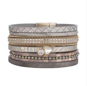 ZG Effacer Pierre Bracelet En Cuir Pour Hommes Femmes Vintage Plusieurs Couches Simulé Cristal Manchette Bracelets Bijoux Feminino