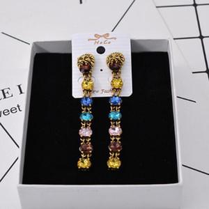 선물을위한 새로운 사자 머리 긴 스터드 귀걸이 여성 라인 석 긴 술 귀걸이 패션 쥬얼리 액세서리