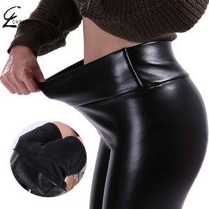 CHRLEISURE S-5XL женщины плюс размер зимние кожаные брюки теплый Veet брюки высокой талией Брюки женщины толстые стрейч Pantalon Femme
