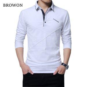 BROWON camiseta de la venta caliente hombres camiseta larga Turn-down raya camiseta de diseño Slim Fit suelta camiseta de algodón casual hombre más tamaño