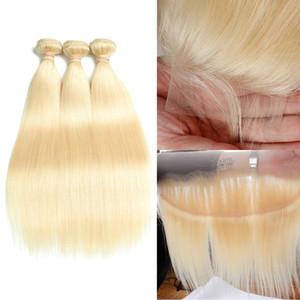 Hint Remy İnsan Saç Sarışın Saç 3 Demetleri Ile 4 * 4 Dantel Kapatma 13x4 Frontal Saf 613 Renk Düz Saç Kapatma ile Kapatma Vücut Dalga
