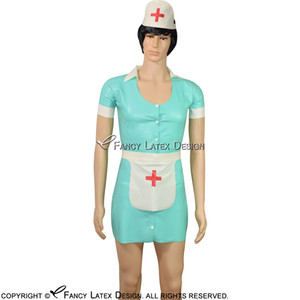 Black With White Sexy Latex Nurse Dress With Red Cross Rubber Uniform With Headgear Apron Button At Front Latex Dress LYQ-0055