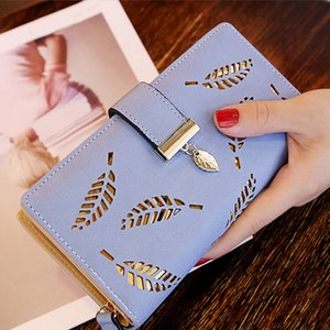 Wholesale Women Wallets Purses Zipper Hollowed Out Leaves Designer Clutch Bag ID Credit Card Holder Long Bag