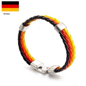 Coppa del mondo di Russia Sport all'aria aperta Beach Cycling Cheerleading Knit Flag PU cinturino in pelle a maglia World Cup 32 Paesi Bracciale