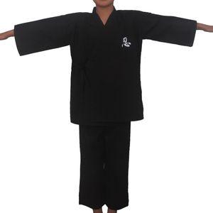 Noir Japonais Ninja Garçons Traditionnel Kimono Enfant Guerrier Épéiste Yukata Enfants Spectacle Vêtement Costume Samurai