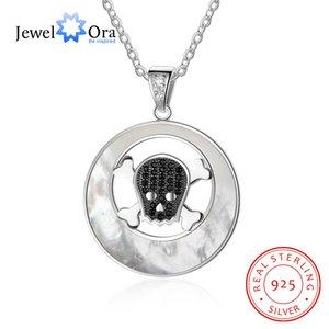 Collar de plata de ley 925 para mujeres Colgantes de esqueleto negro Cubic Zirconia Perlas de ostras Cadenas de mujer (Jewelora NE102586)
