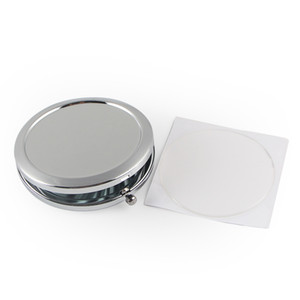 Blank compact mirror with Epoxy Sticker New cosmetic pocket mirror makeup the Cheap Compacts Silver Colour For DIY Decoden #M070S