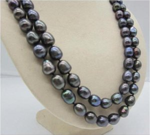 2 ROW NATURAL 11-12MM SOUTH SEA BLACK PEARL NECKLACE 14K YELLOW GOLD 17-18