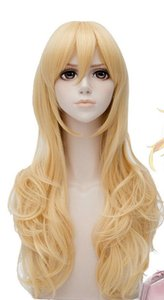 Votre mensonge en avril Miyazono Kaori longue perruque cosplay doré jaune