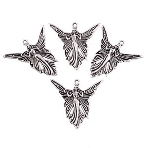 whole saleFree shipping 20pcs butterfly angle fairy Tibetan Silver Bead charms Pendants fit bracelet 38*30mm