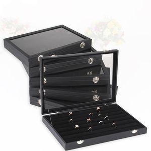 35x24 Multifuncional Preto couro pulseira brinco anel colar pingente de exibição Box Titular Jóias Show Case Velvet Dentro