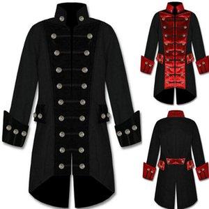 Homens Steampunk Jaquetas Homens Botões Irregular Gola Jakets Correspondência de Cores Magro Homens Jaqueta de Manga Longa Macio Top Coat