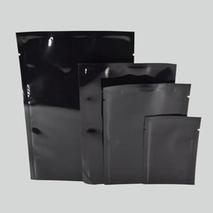 Multi-tamaño 200 unids / lote Open Top Negro Bolsas de embalaje de papel de aluminio Bolsas de vacío Alimentos Almacenamiento de calor Sellable Brillante Mylar Bolsa Envío Gratis