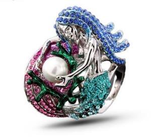 Exportar moda jóias com anel de sereia de diamante