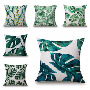 cotton plants cushion cover decorative green leaf throw pillow case modern foliage almofada tropical pineapple ananas decor