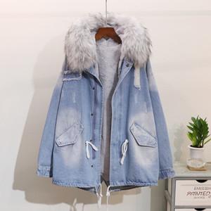 Parkas mujer 2018 femmes doublure hiver long enseigner denim manteaux épaissir dame Windbreaker femme survêtement à capuchon col de fourrure Jeans