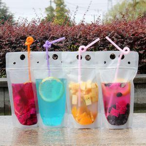 100 unids Bolsas de bebidas claras Bolsas con cremallera helada Soporte de plástico Bolsa de consumo de plástico con paja con el titular a prueba de calor reclateral 17oz