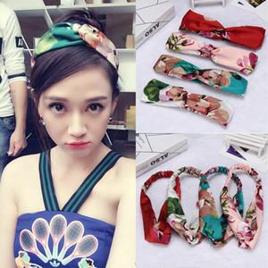 Korea Cross Hair Belt Chenjon Geranium Silk Headwear Loose Knot Hair Accessories Floral Patchwork Elastic Hair Band