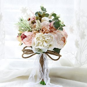 Mano de novia dama de honor de encaje de flores artificiales decoración de la boda de Pink Cream novia de la boda del ramo de la explotación agrícola de la broche de flores CPA1540