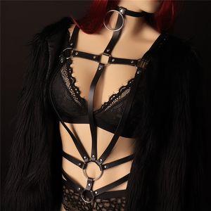 DERI KEMER VÜCUT KOŞUM Bondage Lingerie Siyah Goth Bdsm Sutyen Üstleri Tam Dans Kulübü Deri Demeti Iç Çamaşırı Kadın Demeti