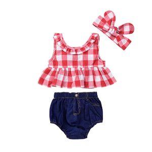 Nuevos juegos para niñas lindos de verano Plaid Back Bow Tops Camisas + Pantalones de mezclilla pantalones cortos + Diadema con lazo 3pcs Conjunto de trajes para niña de Baby Girl 405