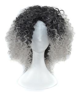 Pelucas sintéticas del pelo de Ombre para las mujeres afroamericanas fibra resistente al calor Estilo rizado de la longitud media llenas ninguna peluca sintética del cordón para la señora negra