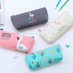 Simple Flamingos Canvas Zipper Pen Pencil Case Cute Large Capacity Pencil Box Bag Student Stationery School Office Supplies Gifts