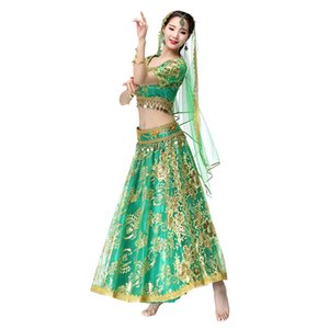 NOVO Mulheres Belly Dance Wear Moedas Dança Conjuntos Organza bordados Bollywood Costume 4pcs Set (Top + cinto + saia + Veil)