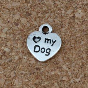 "300 unids Love Heart 9.5x12mm DIY Mini ""My Dog"" con Puppy Dog Paw Print Charms Colgante para la fabricación de joyas de fabricación de accesorios (love my dog)"